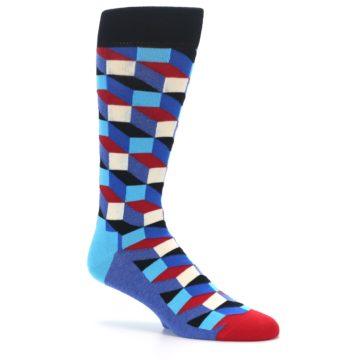 Image of Blue Red Black Optical Men's Dress Socks (side-1-26)