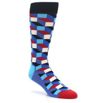 Image of Blue Red Black Optical Men's Dress Socks (side-1-27)