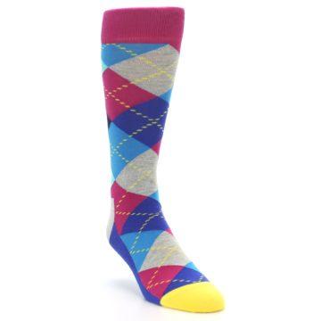 Image of Blue Pink Mint Argyle Men's Dress Socks (side-1-front-02)