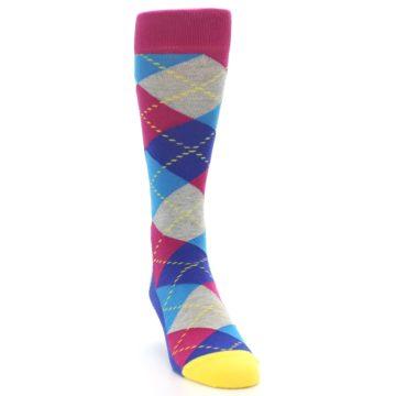 Image of Blue Pink Mint Argyle Men's Dress Socks (side-1-front-03)