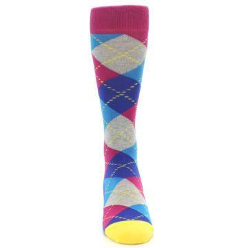 Image of Blue Pink Mint Argyle Men's Dress Socks (front-04)