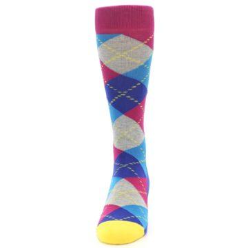 Image of Blue Pink Mint Argyle Men's Dress Socks (front-05)