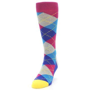 Image of Blue Pink Mint Argyle Men's Dress Socks (side-2-front-06)