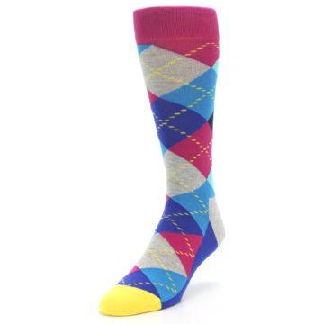 Image of Blue Pink Mint Argyle Men's Dress Socks (side-2-front-07)