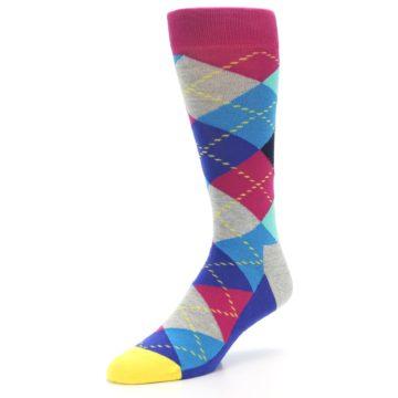 Image of Blue Pink Mint Argyle Men's Dress Socks (side-2-front-08)