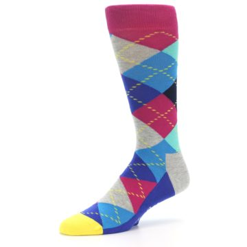 Image of Blue Pink Mint Argyle Men's Dress Socks (side-2-09)