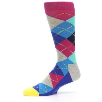 Image of Blue Pink Mint Argyle Men's Dress Socks (side-2-10)