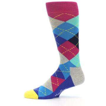 Image of Blue Pink Mint Argyle Men's Dress Socks (side-2-11)