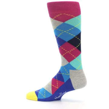 Image of Blue Pink Mint Argyle Men's Dress Socks (side-2-12)