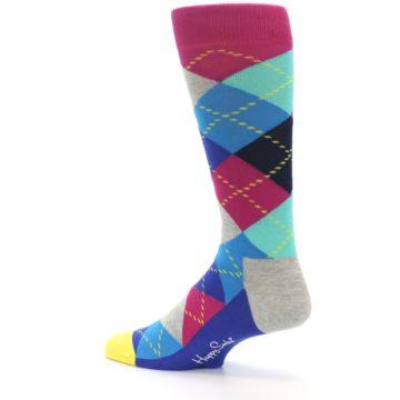 Image of Blue Pink Mint Argyle Men's Dress Socks (side-2-13)