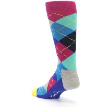 Image of Blue Pink Mint Argyle Men's Dress Socks (side-2-back-14)