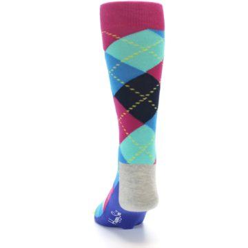 Image of Blue Pink Mint Argyle Men's Dress Socks (side-2-back-16)