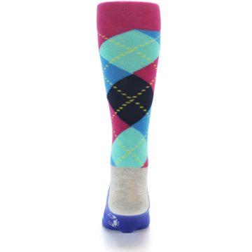 Image of Blue Pink Mint Argyle Men's Dress Socks (back-17)