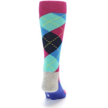 Image of Blue Pink Mint Argyle Men's Dress Socks (back-18)
