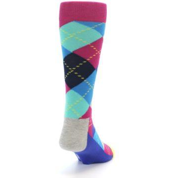 Image of Blue Pink Mint Argyle Men's Dress Socks (back-19)