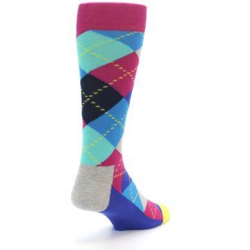 Image of Blue Pink Mint Argyle Men's Dress Socks (side-1-back-20)