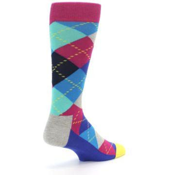 Image of Blue Pink Mint Argyle Men's Dress Socks (side-1-back-21)