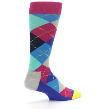 Image of Blue Pink Mint Argyle Men's Dress Socks (side-1-back-22)