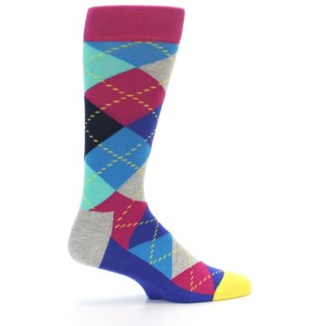Image of Blue Pink Mint Argyle Men's Dress Socks (side-1-23)