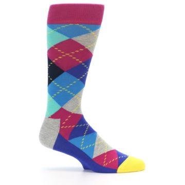 Image of Blue Pink Mint Argyle Men's Dress Socks (side-1-24)