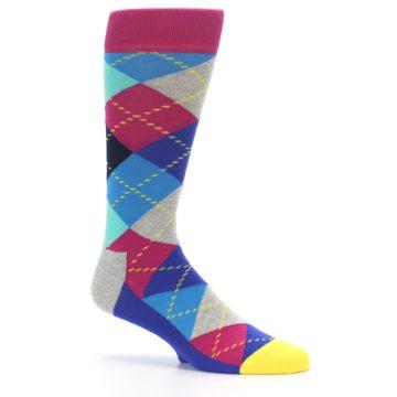 Image of Blue Pink Mint Argyle Men's Dress Socks (side-1-25)