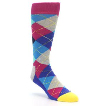Image of Blue Pink Mint Argyle Men's Dress Socks (side-1-27)