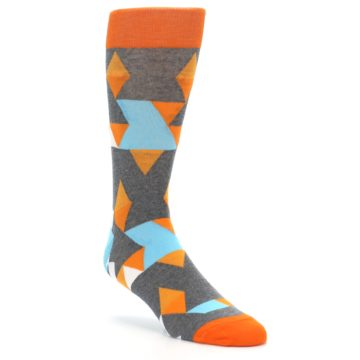 Image of Grey Orange Blue Kaleidoscope Men's Dress Socks (side-1-front-02)