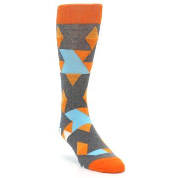 Image of Grey Orange Blue Kaleidoscope Men's Dress Socks (side-1-front-03)