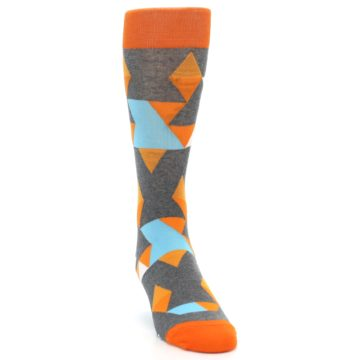 Image of Grey Orange Blue Kaleidoscope Men's Dress Socks (front-04)