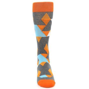 Image of Grey Orange Blue Kaleidoscope Men's Dress Socks (front-05)