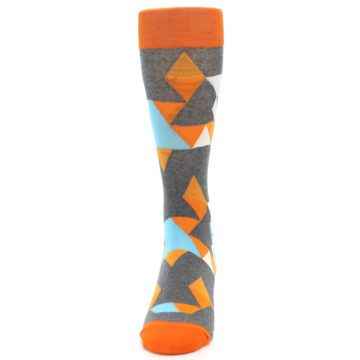 Image of Grey Orange Blue Kaleidoscope Men's Dress Socks (side-2-front-06)