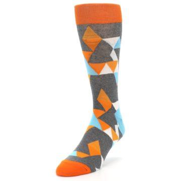 Image of Grey Orange Blue Kaleidoscope Men's Dress Socks (side-2-front-08)