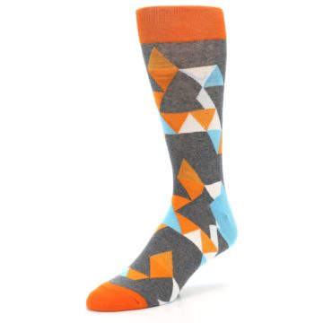 Image of Grey Orange Blue Kaleidoscope Men's Dress Socks (side-2-09)