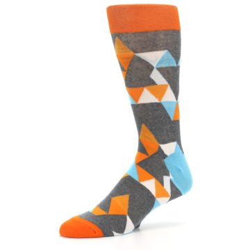Image of Grey Orange Blue Kaleidoscope Men's Dress Socks (side-2-10)