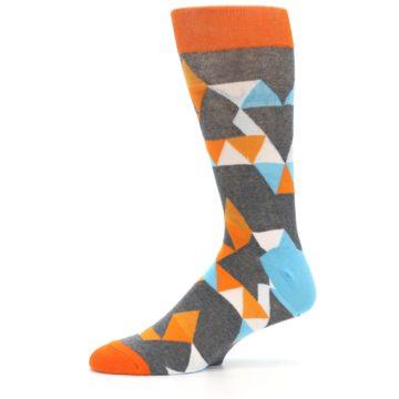 Image of Grey Orange Blue Kaleidoscope Men's Dress Socks (side-2-11)