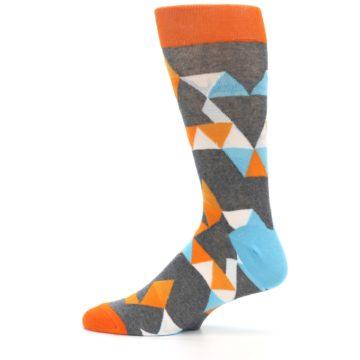 Image of Grey Orange Blue Kaleidoscope Men's Dress Socks (side-2-12)