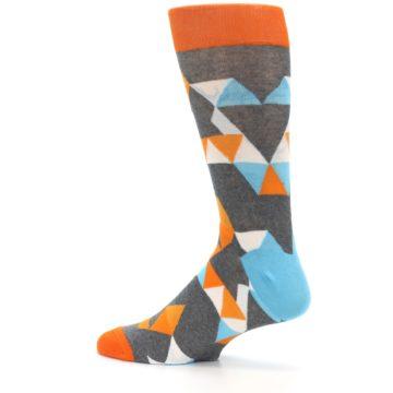 Image of Grey Orange Blue Kaleidoscope Men's Dress Socks (side-2-13)