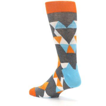 Image of Grey Orange Blue Kaleidoscope Men's Dress Socks (side-2-back-14)