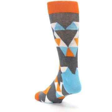 Image of Grey Orange Blue Kaleidoscope Men's Dress Socks (side-2-back-15)