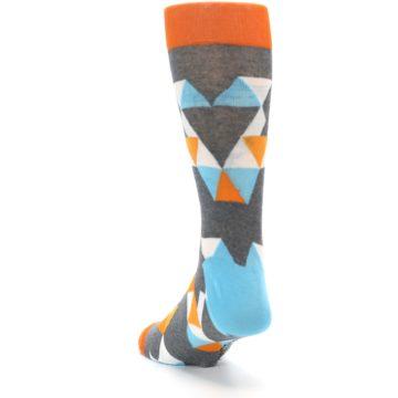 Image of Grey Orange Blue Kaleidoscope Men's Dress Socks (side-2-back-16)