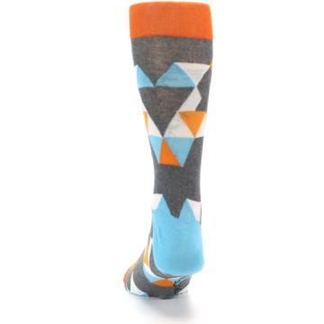 Image of Grey Orange Blue Kaleidoscope Men's Dress Socks (back-17)