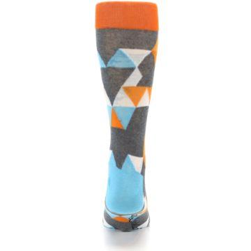 Image of Grey Orange Blue Kaleidoscope Men's Dress Socks (back-18)