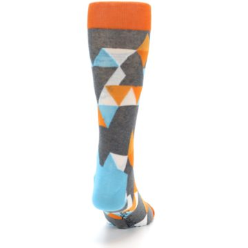 Image of Grey Orange Blue Kaleidoscope Men's Dress Socks (back-19)