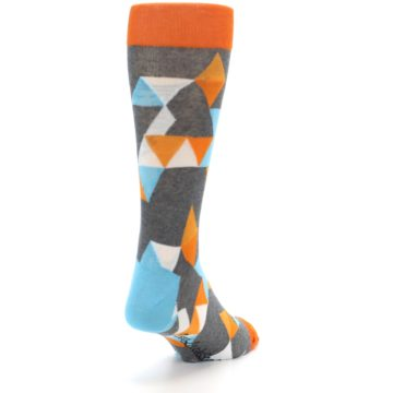 Image of Grey Orange Blue Kaleidoscope Men's Dress Socks (side-1-back-20)