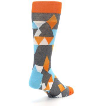Image of Grey Orange Blue Kaleidoscope Men's Dress Socks (side-1-back-21)
