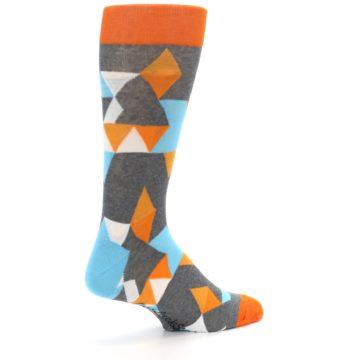Image of Grey Orange Blue Kaleidoscope Men's Dress Socks (side-1-back-22)