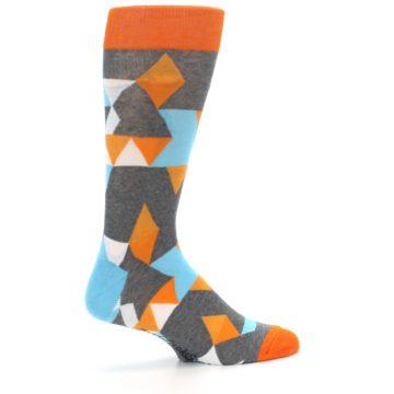 Image of Grey Orange Blue Kaleidoscope Men's Dress Socks (side-1-23)