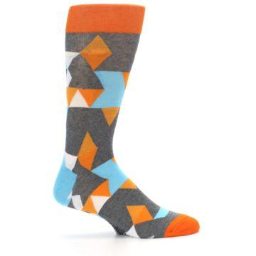 Image of Grey Orange Blue Kaleidoscope Men's Dress Socks (side-1-24)