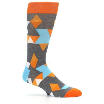 Image of Grey Orange Blue Kaleidoscope Men's Dress Socks (side-1-25)