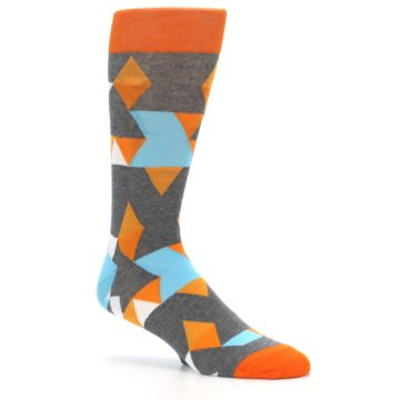 Image of Grey Orange Blue Kaleidoscope Men's Dress Socks (side-1-26)